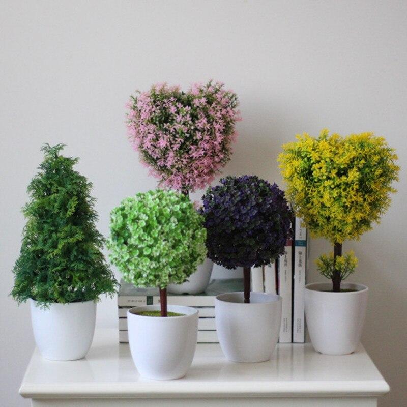Haute Simulation Airtificial Pot Culture Bureau Décorations Soie Fleur Boule Herbe Balle Décorations Herbe et Vase Ensembles