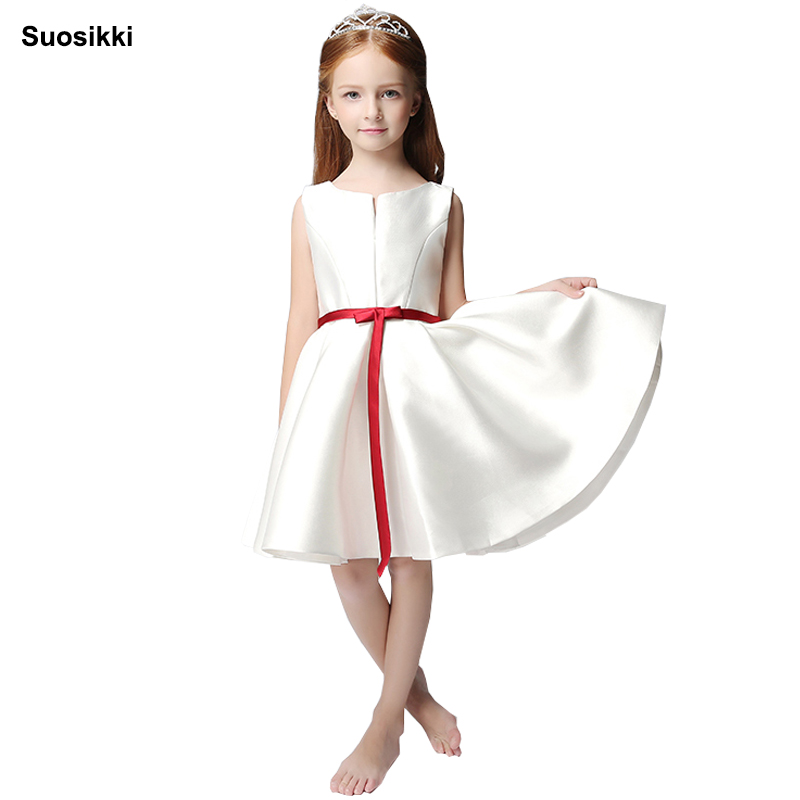 Suosikki Hot sale Flower Girl Communion Dress A-line satin dresses cute bow girl dress Pageant Gowns
