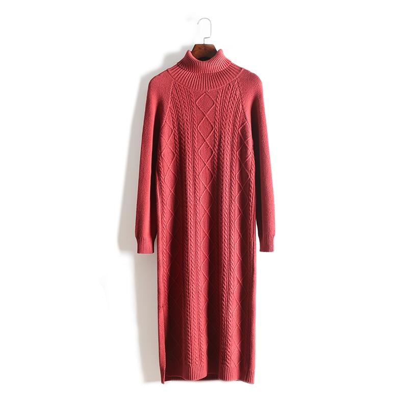 Лидер продаж 2018 Зима Женское платье шерсть, Для женщин вязаное платье тонкий длинный мешок хип кашемир Разделение Высокий воротник рукавом