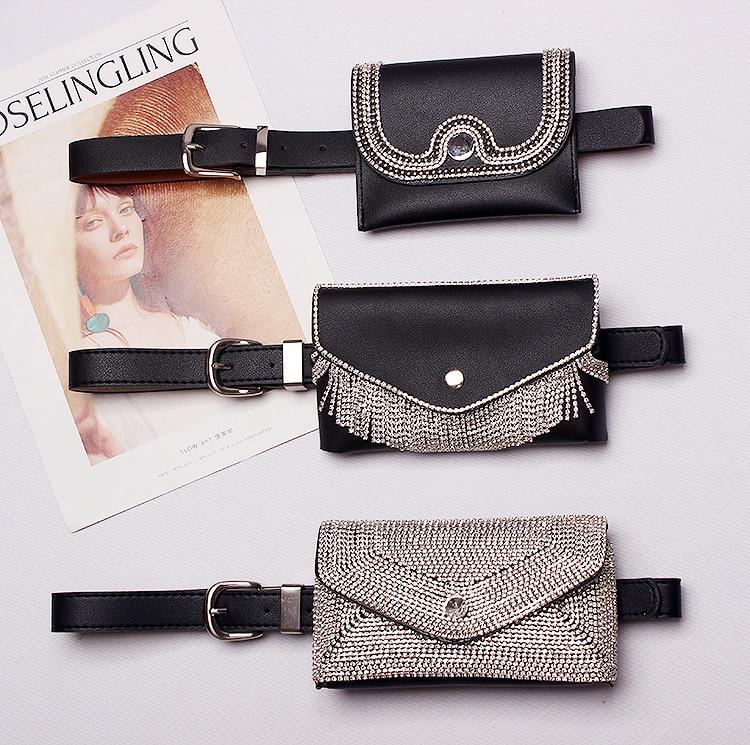 2019 European Hotselling Removable Rhinestone Bag Waist Belts Bling Leather Phone Purse Women Dress Belts Corset Strap