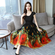 Floral Print Boho Beach Dress Women Summer Long Dress O-neck Tunic Midi Dress Big Swing Party Sundress 2019 Vestido de festa