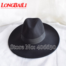 2014 new autumn winter large brim wool felt fedora hat for men women, unisex trilby hat, leisure caps, free shipping