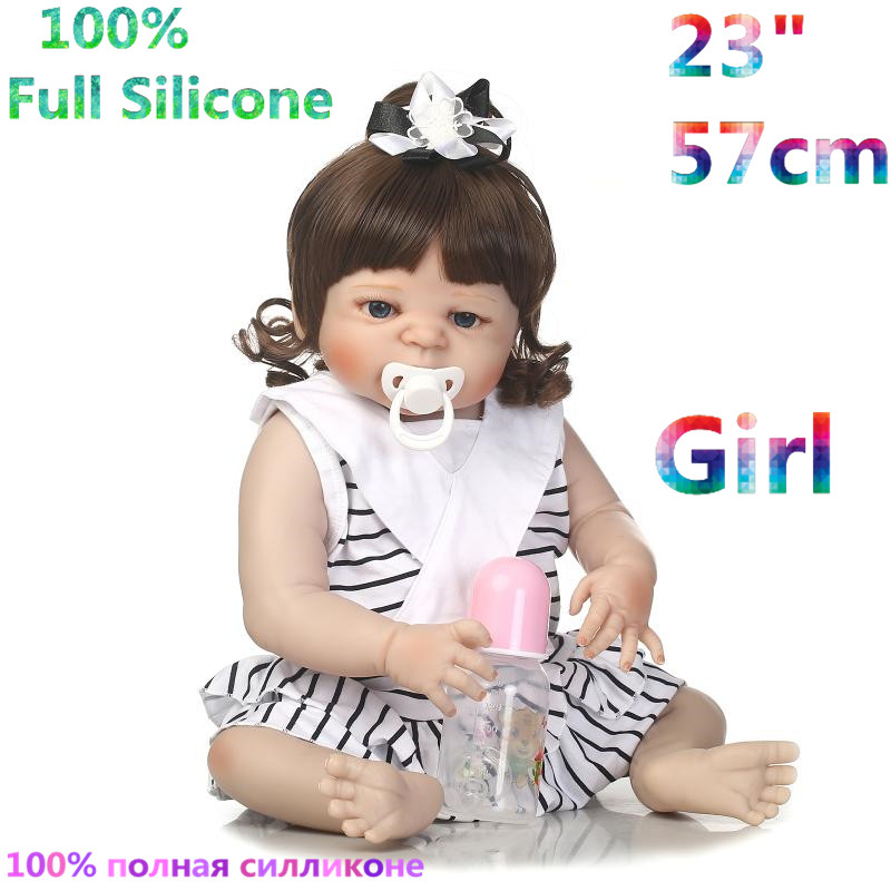 23 Inches 100% Full Body Silicone Reborn Brinquedo Baby Dolls Alive Menina Bonecas Doll Reborn Babies RB16-01H10 christmas gifts in europe and america early education full body silicone doll reborn babies brinquedo lifelike rb16 11h10