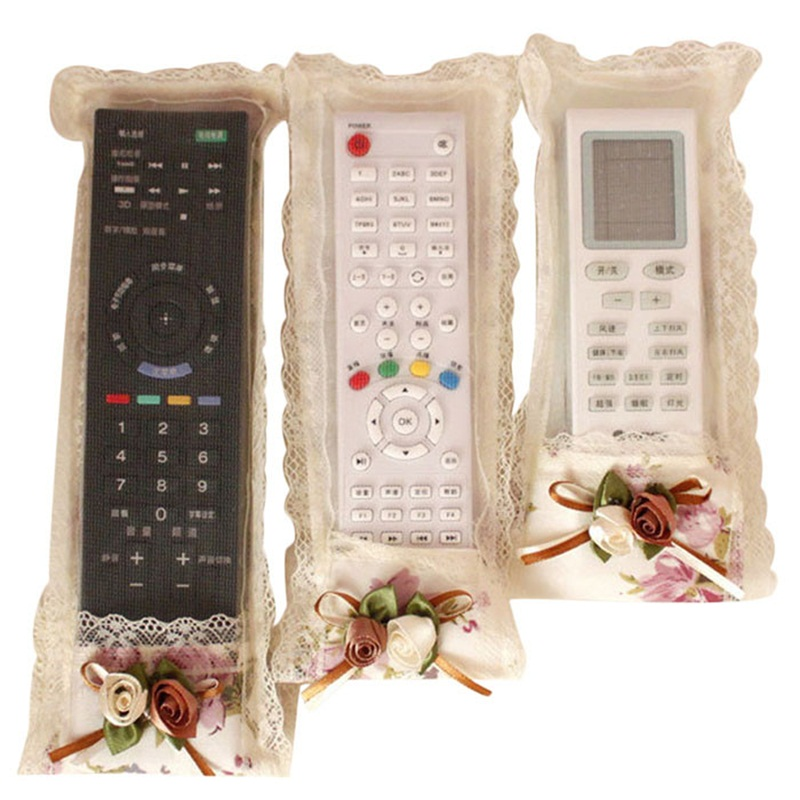 Home Pastoral Flower Cloth Art Remote Control Sets Tv Air Conditioning Remote Control Dust Cover 3pcs Protective Case Dropship