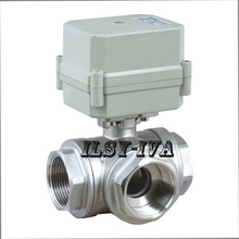 AC/DC 9 to24V Three Ways Motorized  Valve,DN20 Stainless Steel Electric Ball Valve