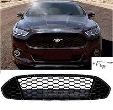 Matt Black Передняя решетка гриль ободок ячеистой сетки чехол с логотипом Mustang для Ford Mondeo Fusion 2013-2016