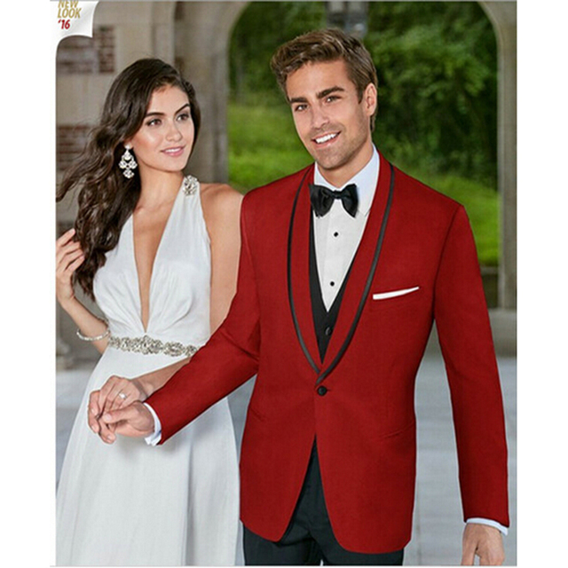 2017 Latest Jacket Pants Designs Groomsmen Groom Wedding Tuxedos Red Men Suits Blazer With Black