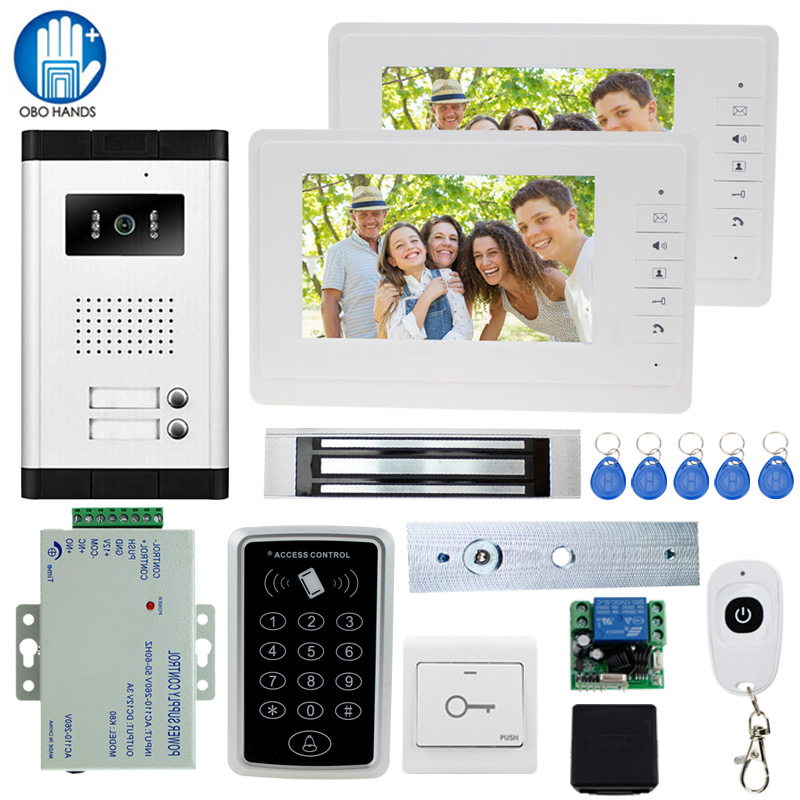 Wired 7 Video DoorBell intercom Entry System 2 Monitor+1 RFID Access IR 700TVL Camera+Electric Control Door Lock+Remote Control jeruan apartment 4 3 video door phone intercom system kit 2 monitor hd camera rfid entry access control 2 remote control