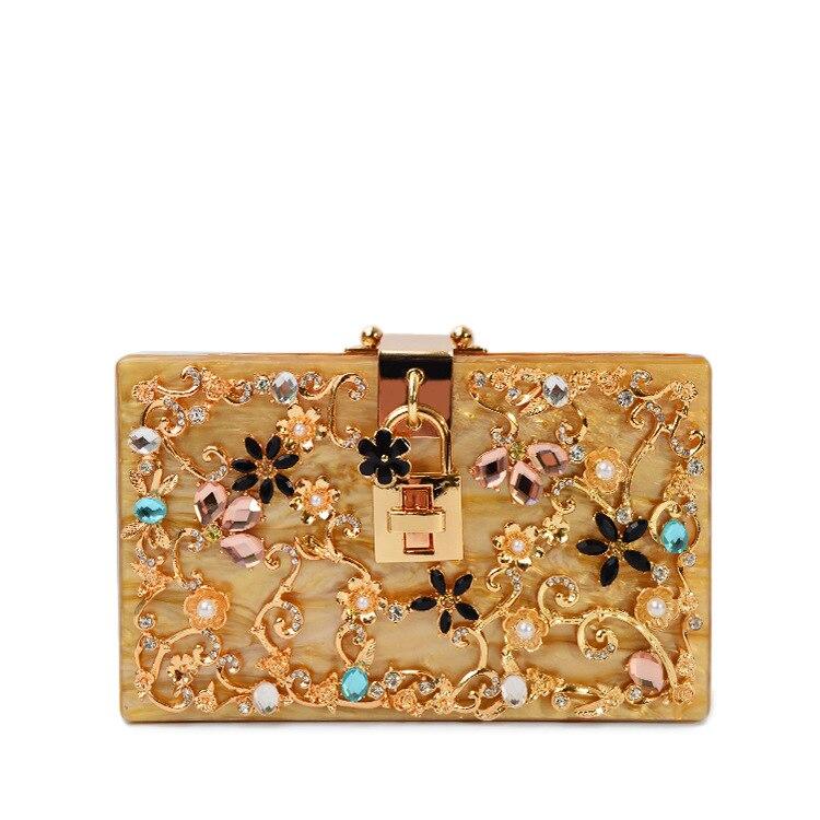 China Aliexpress Wholesale Customized Fashion Acrylic Bag Ladies Diamond Crystal Acrylic Box Clutches Bridal Evening Handbag