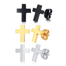 Hip Hop Stainless steel fashion jewelry cross earrings 3 colors available For Women Men Jewelry Dropshipping