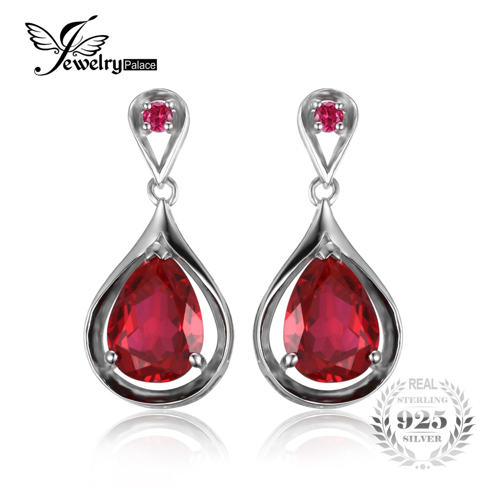 Jewelrypalace Vintage Earrings Water Drop 77ct Created Ruby Dangle Earrings  Genuine 925 Sterling Silver For