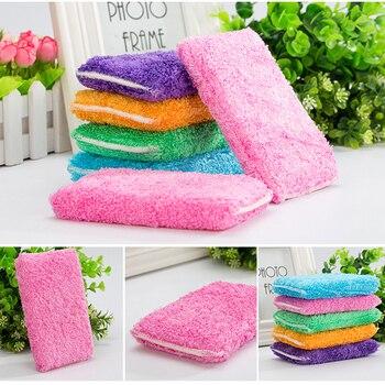 12pcs ANTI-GREASY bamboo fiber wrap sponge washing dish foam,magic multi-function wipping/cleaning rags