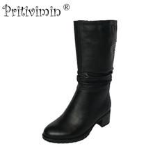 2017 женские зимние теплые натуральной меховой подкладке женская обувь толстый высокий каблук короткие сапоги женские натуральная кожа обувь pritivimin FN71