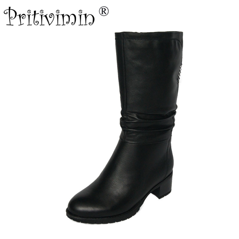 2018 female winter warm real fur lined shoe woman thick high heel short boots ladies genuine leather footwear Pritivimin FN71