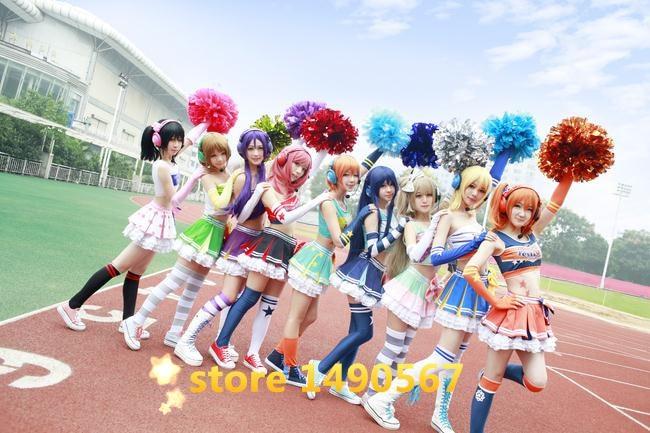 Love Live Honoka Kotori Umi Eli Nozomi Maki Rin Hanayo Nico Cheerleading cos Dress cheer Cosplay Costume Halloween costume cheer