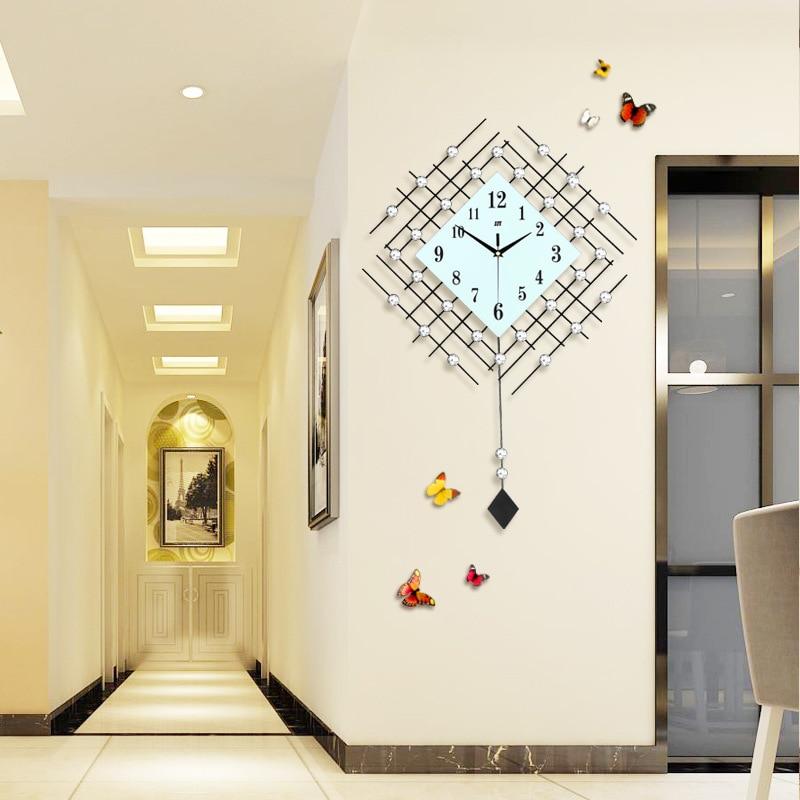 JJT Iron Diamond Pendulum Wall Clock Creative Clock of Modern Living ...