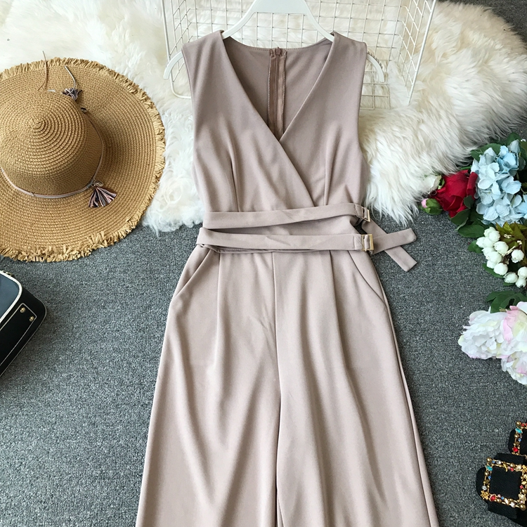 ALPHALMODA 2019 Spring Ladies Sleeveless Solid Jumpsuits V-neck High Waist Sashes Women Casual Wide Leg Rompers 38