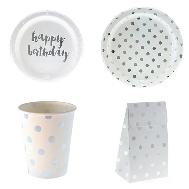 Happy Birthday Disposable Tableware Gary Dot Paper Plates Cup Gift Snack Bags Birthday Party Wedding Carnival  sc 1 st  AliExpress.com & Happy Birthday Disposable Tableware Gary Dot Paper Plates Cup Gift ...