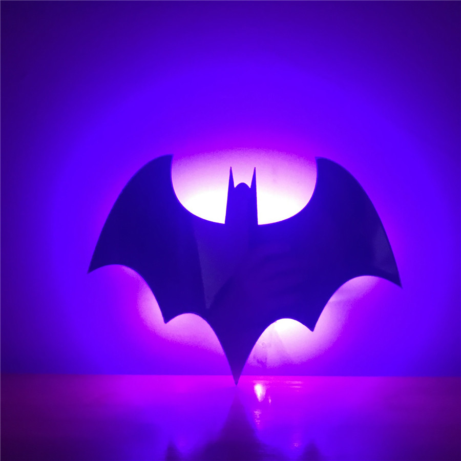 BEIAIDI Novelty Batman LED Night Light 7Color Mirror Led Wall Lamp With Remote Corridor Aisle Background Lamp For Christmas Gift