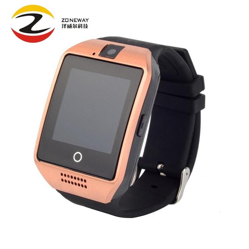 Bluetooth intelligens karóra férfiak Q18 érintőképernyős nagy akkumulátor támogatás TF Sim kártya kamera Android telefonhoz Smartwatch Pk Dz09 M3