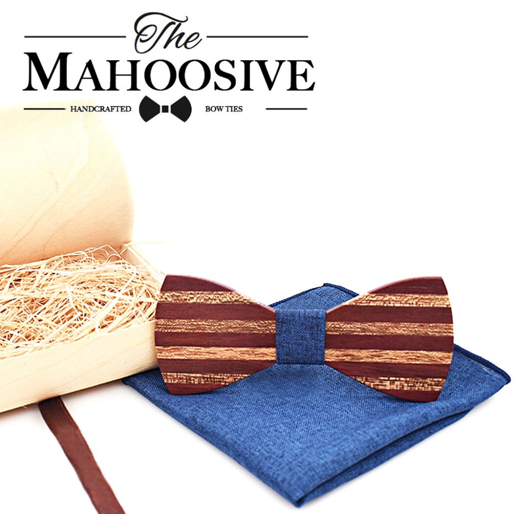 Mahoosive Patchwork Wooden Bow Tie With Pocket Square Handkerchief Wood Boxes Set For Men Wedding Gravatas Slim Groom Gift