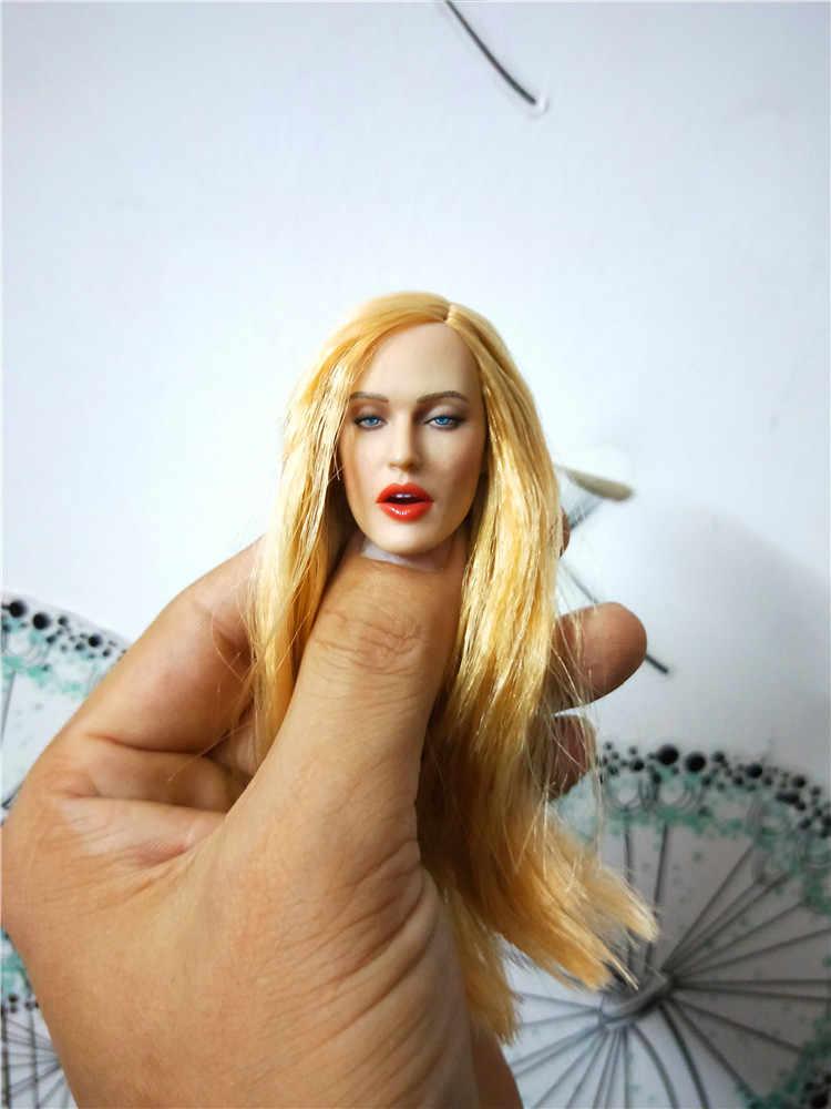 """1/6 Europese Vrouwen Meisje Hoofd Beeldhouwen met Gezichtsuitdrukking en Open mond Schoonheid Hoofd Krullend bruin Haar GC017 Voor 12 """"actie Figu"""