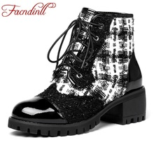 FACNDINLL 2019 new arrives autumn winter ankle boots for women square med heel lace up black red shoes woman dress casusal
