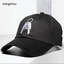 f0c90469 100% cotton casquette baseball caps Men hats Black Caps Overturned Cat  Embroidery Dad Hat for