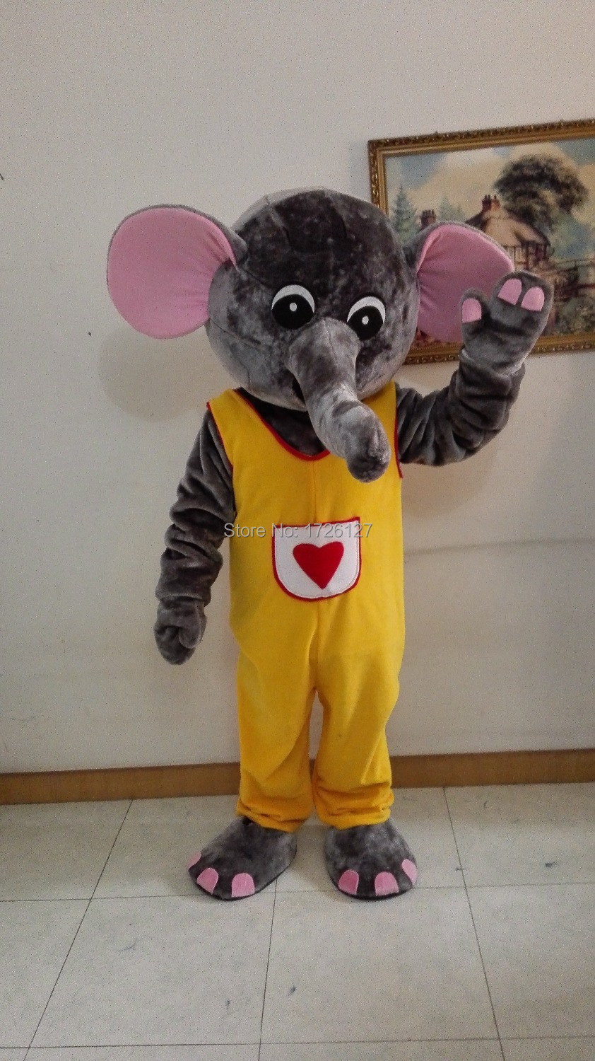 yellow suit red heart elephant mascot Costume custom fancy costume anime cosplay kit mascotte theme fancy dress carnival costume
