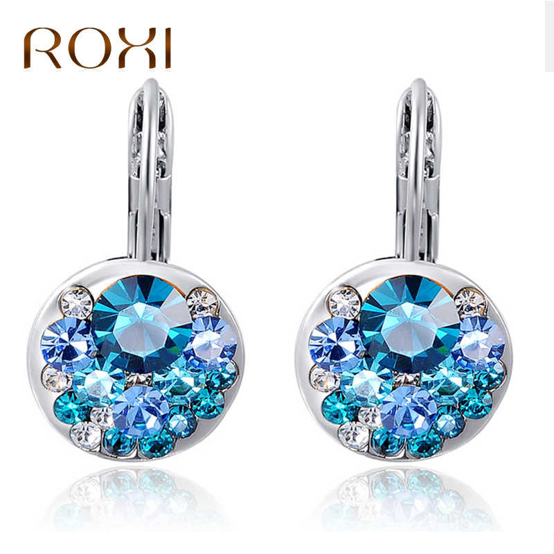 ROXI High Quality 4 Colors Round Stone Zircon Earrings Wedding Fashion Jewelry Best Gift Earrings For Woman Bijoux Dropship