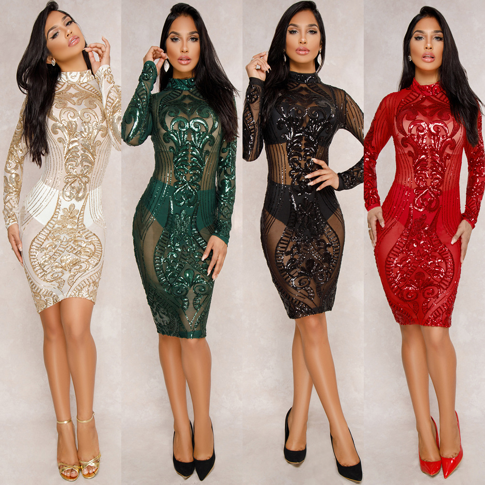 OMILKA 2018 Spring Women Long Sleeve O Neck Zipper Sequin Bodycon Dress Sexy  Red Black Green White Bling Club Party Midi Dress-in Dresses from Women s  ... c0771a628c0d