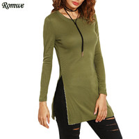 ROMWE New Arrival Autumn Woman Basic T Shirts 2016 Casual Ladies Plain Green Round Neck Long