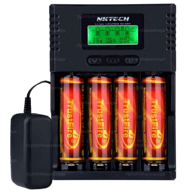NK VS Soshine H4 H4 Li-ion NiCd NiMh LCD Digital Inteligente de $ Number Ranuras Cargador de Batería con el Adaptador de LA UE EE.UU. + 4 unids 18650 3000 mah
