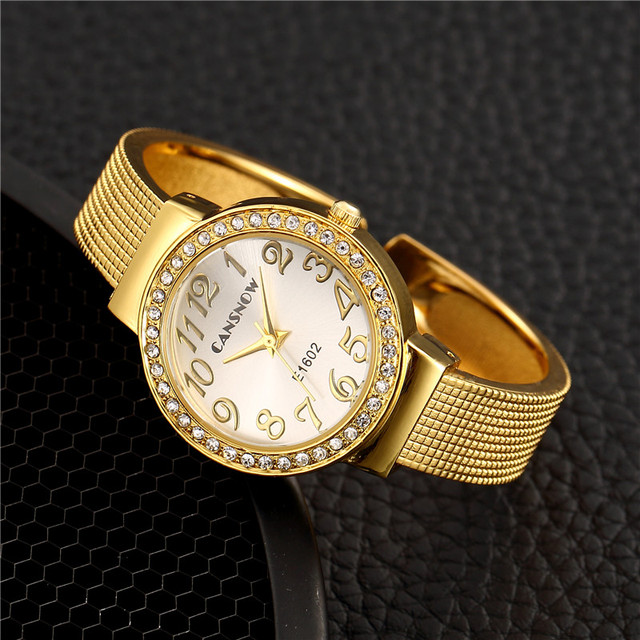 Women Luxury Gold Silver Rhinestone Bracelet Watches Female Dress Bangle Watch L