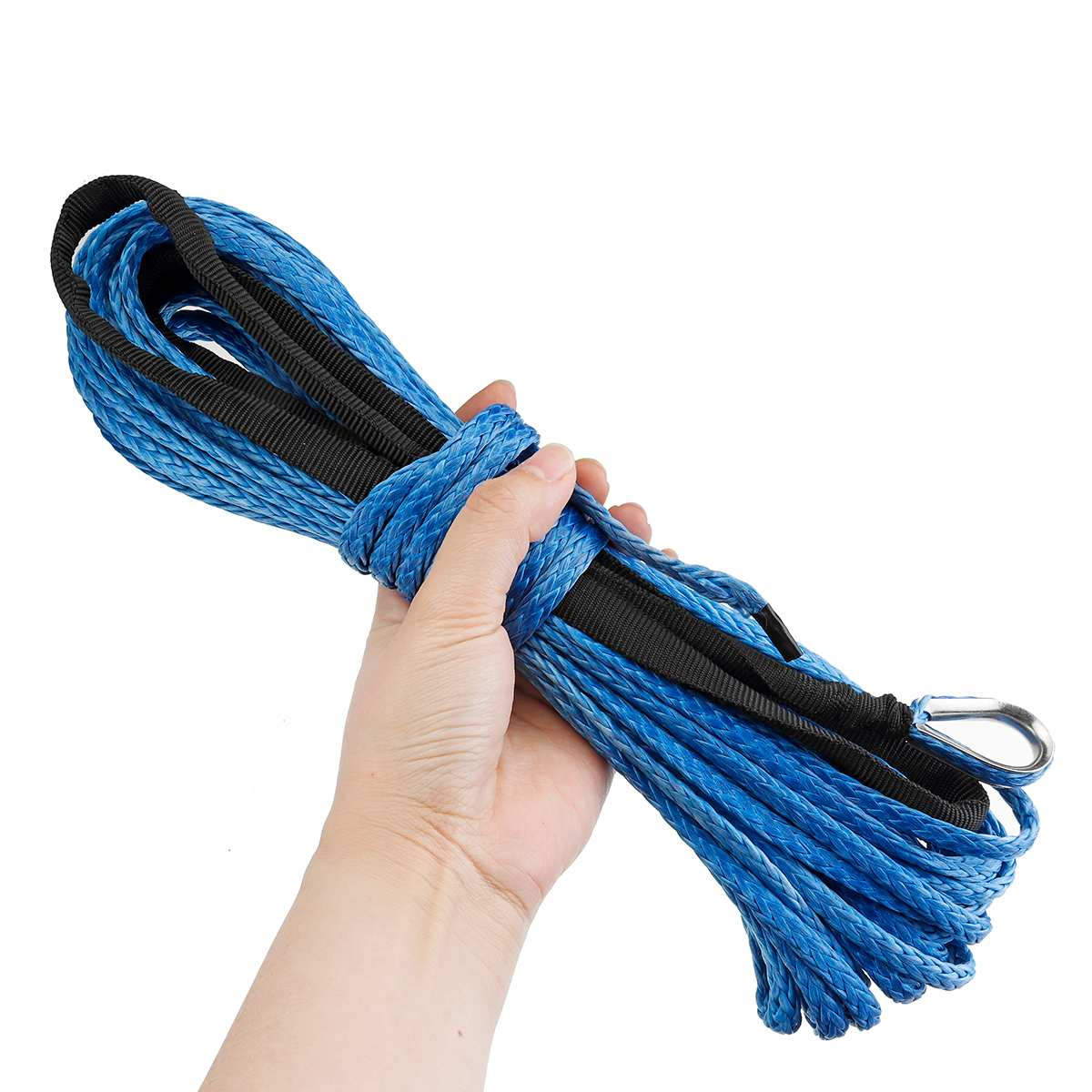 "3//16/"" x 50/' 7700LBs Synthetic Winch Line Cable Rope with Sheath ATV UTV Blue"