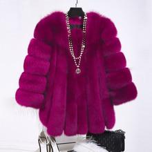 Real Fox fur Jacket Women 2018 New Winter Fashion Nine Quarter Sleeve O-neck Warm Jackets Fur Coats