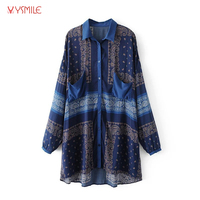 YSMILE Y Women Vintage Top Blusas Long And Loose Casual Oversized Shirts Long Sleeve Turn Down