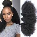 Pelo Rizado malasio 3 Unids Rizado Pelo Virginal rizado Malasio Virgin Hair Bundles 10-26 pulgadas Natural Negro Rosa Productos de Pelo de la reina