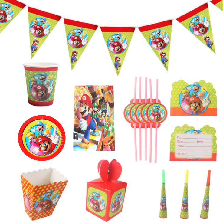 Super Mario theme party Disposable tableware paper plate cup napkin banner candy box Popcorn box straw Kids Birthday party decor