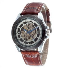 GOER марка мужская кожа наручные часы автоматика Мода Скелет светящиеся Спорта водонепроницаемый Мужской часы