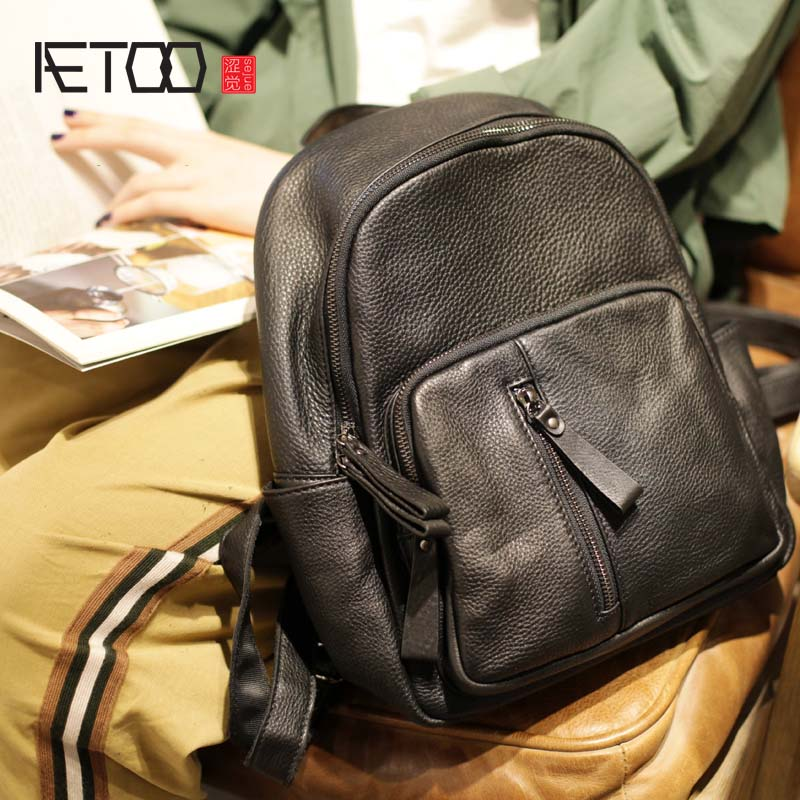 AETOO 2019 ใหม่ชั้น soft cowhide หญิงเกาหลีรุ่นของแนวโน้มแฟชั่นหญิงกระเป๋าเป้สะพายหลัง-ใน กระเป๋าเป้ จาก สัมภาระและกระเป๋า บน   1