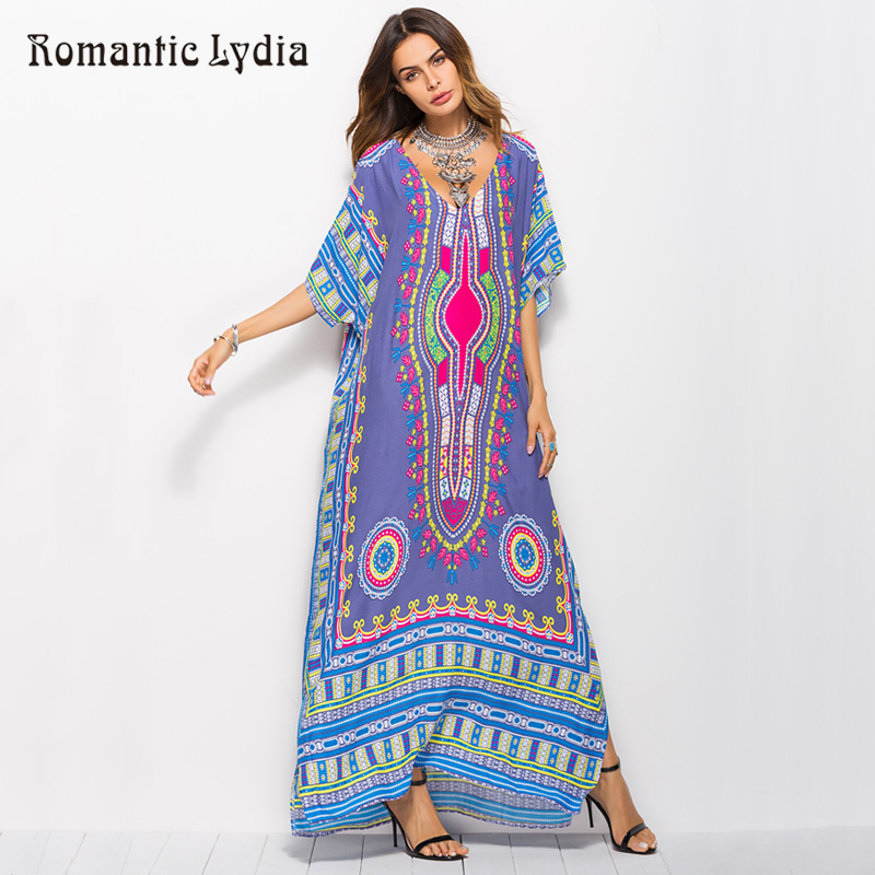 Women Kaftan Retro Maxi Dresses Large Sizes Robe Femme Loose Boho Bohemian Summer Long Vintage Dress Plus Size 2018