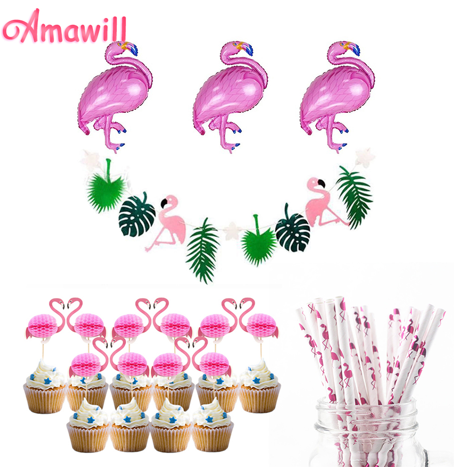 Home & Garden Event & Party Zljq Flamingo Flag Garland Straw Foil Balloons Cupcake Toppers Wedding Birthday Party Decoration Hawaiian Pool Party Supplies