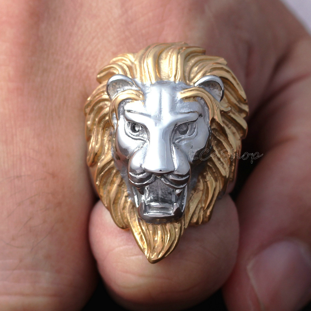 head ring polished man mane gold tone in two jewelry s steel silver products cast main stainless and wholesale lions rings lion photo
