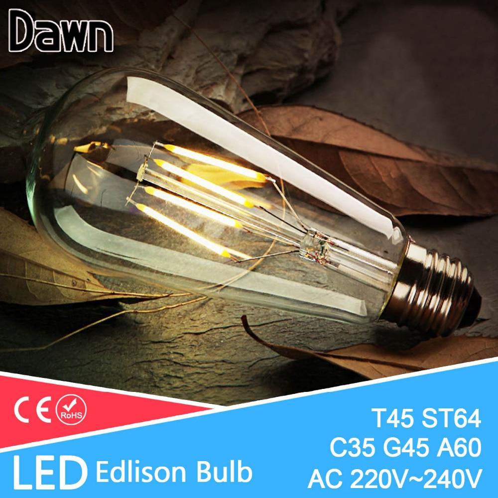 LED Edison Bulb E27 E14 LED Lamp 220V Antique Retro Vintage Filament Light Glass Bulb 4w 6w 8w 12w Candle Lamparas Bombillas 1x new design led filament e14 bulb dmimable 2w 4w 6w ac 220v 230v lamp edison glass candle lights lighting for chandelier