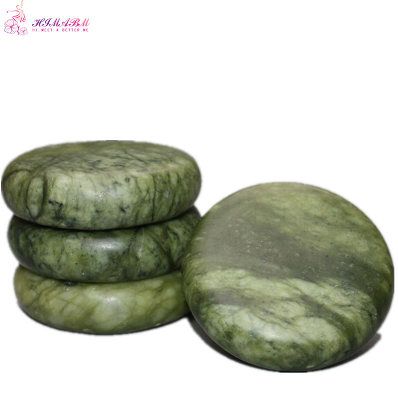 HIMABM 1 pack 4 pcs 7 7cm natrual hot spa Green Jade basalt essential oil massage rocks volcanic energy stone for body massage in Massage Relaxation from Beauty Health