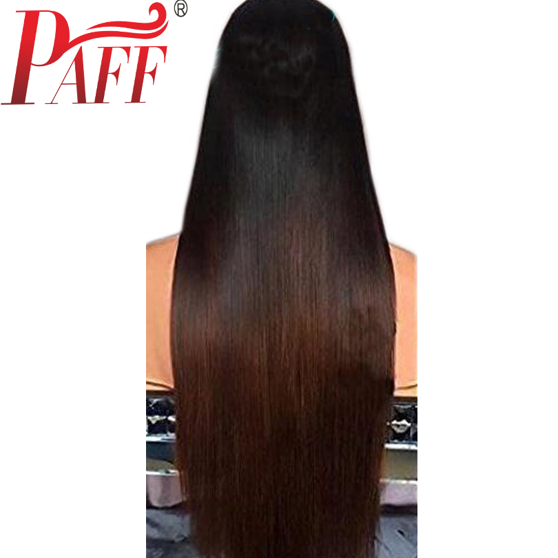 PAFF Straight Ombre Lace Front Human Hair Wigs 130% Density Middle Part Baby Hair Pre Plucked Two Tone Peruvian Remy Hair Wigs