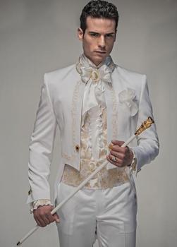 Latest Coat Pant Designs Italian White Pattern Satin Men Suit Terno Slim Fit 2 Piece Custom Blazer Groom Tuxedo Suits masculino