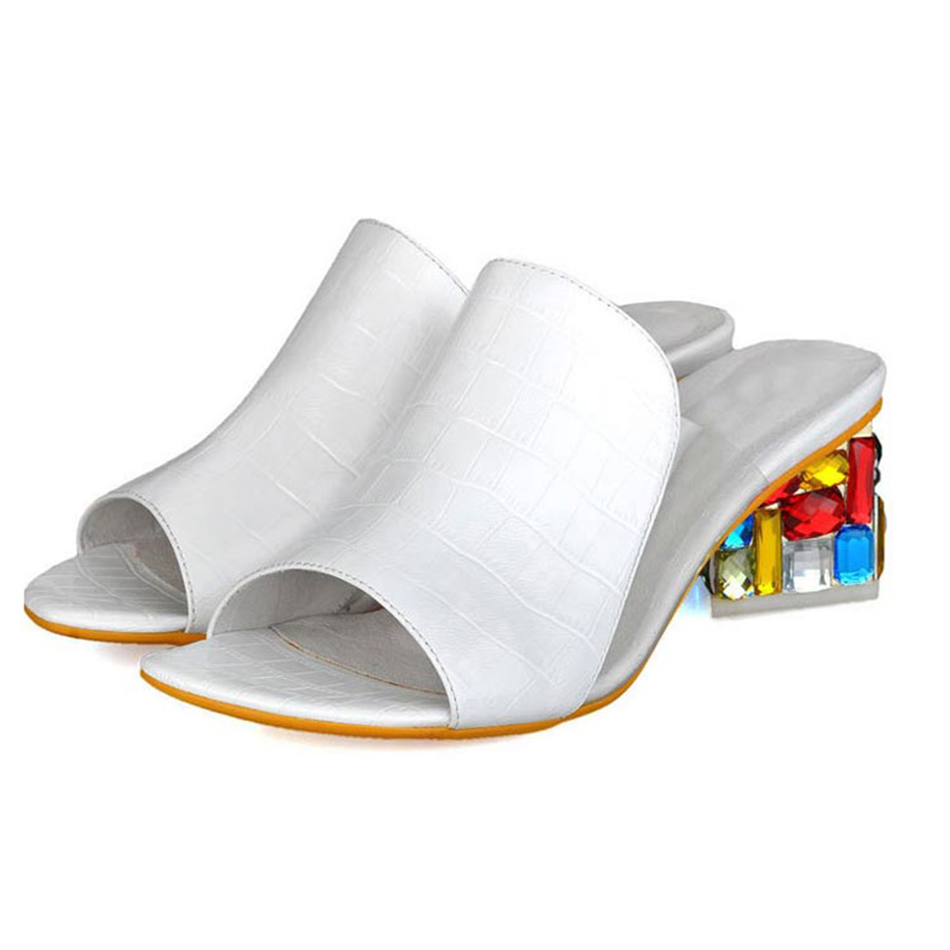 HTB1OEWDmsuYBuNkSmRyq6AA3pXaM KarinLuna 2019 brand Big size 41 elegant crystals chunky Heels Summer women's Shoes Woman Sandals leisure Shoes women slippers
