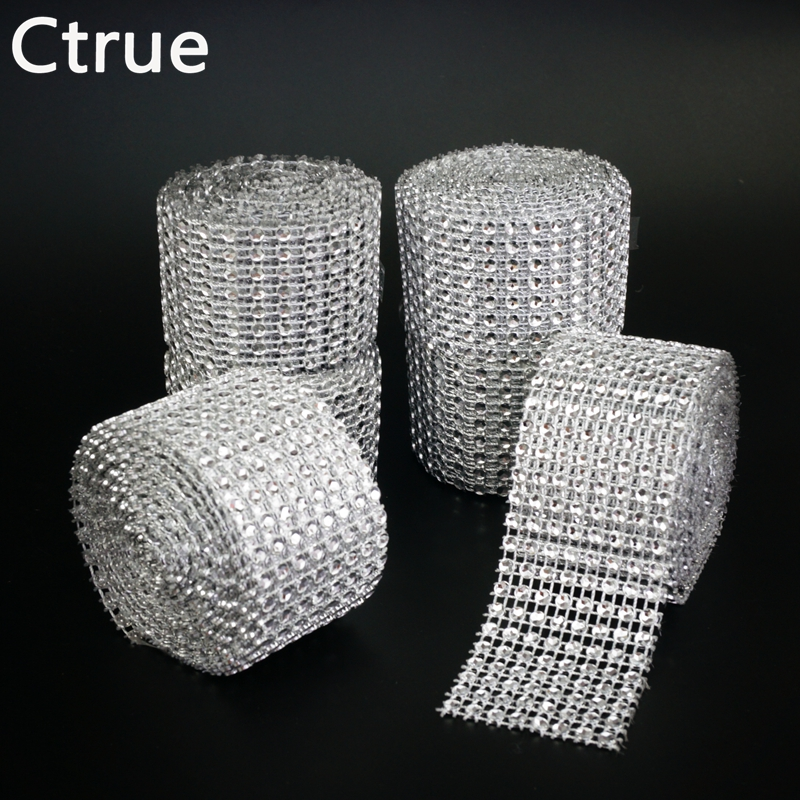 1 stk 4cm * 2meter Bling Diamantnet Wrap Ribbon sølv Rhinestone Mesh Roll Tape Tulle Crystal Ribbon kage bryllup dekoration